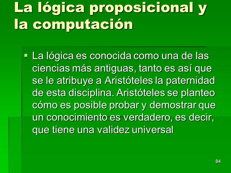 La lógica proposicional y la computación La lógica es conocida como una de las ciencias más antiguas, tanto es así que se le atribuye a Aristóteles la