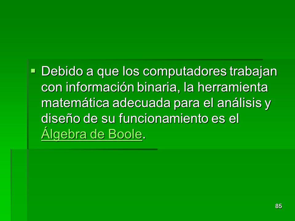 Debido a que los computadores trabajan con información binaria, la herramienta matemática adecuada para el análisis y diseño de su funcionamiento es e