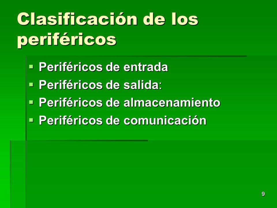 9 Clasificación de los periféricos Periféricos de entrada Periféricos de entrada Periféricos de salida: Periféricos de salida: Periféricos de almacena