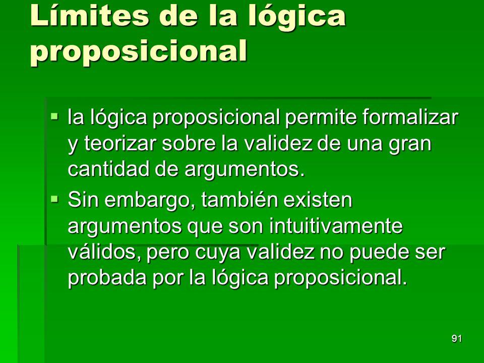 Límites de la lógica proposicional la lógica proposicional permite formalizar y teorizar sobre la validez de una gran cantidad de argumentos. la lógic