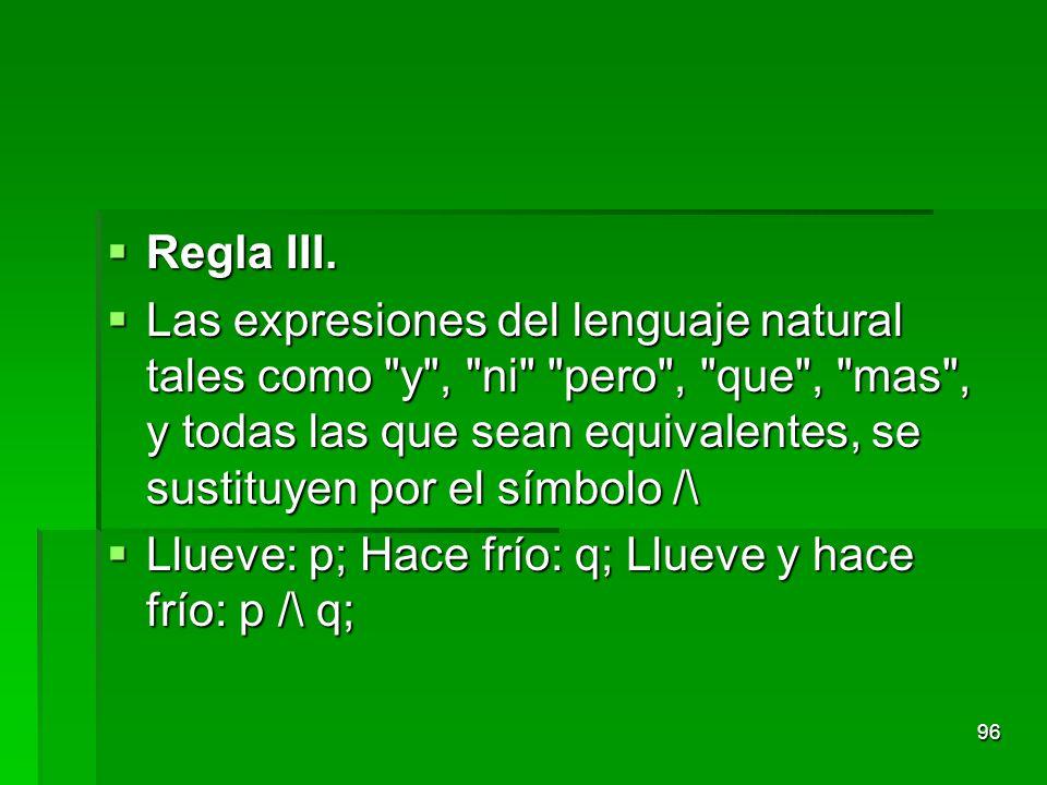 Regla III. Regla III. Las expresiones del lenguaje natural tales como