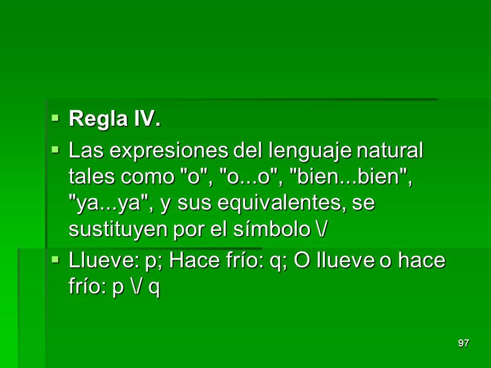 Regla IV. Regla IV. Las expresiones del lenguaje natural tales como