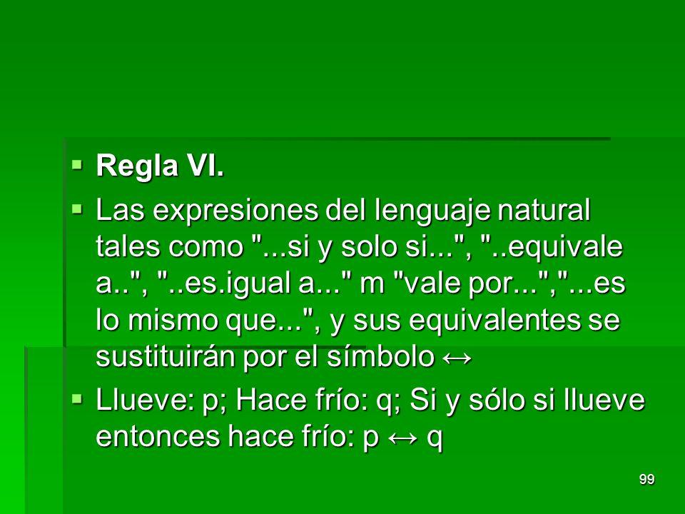 Regla VI. Regla VI. Las expresiones del lenguaje natural tales como