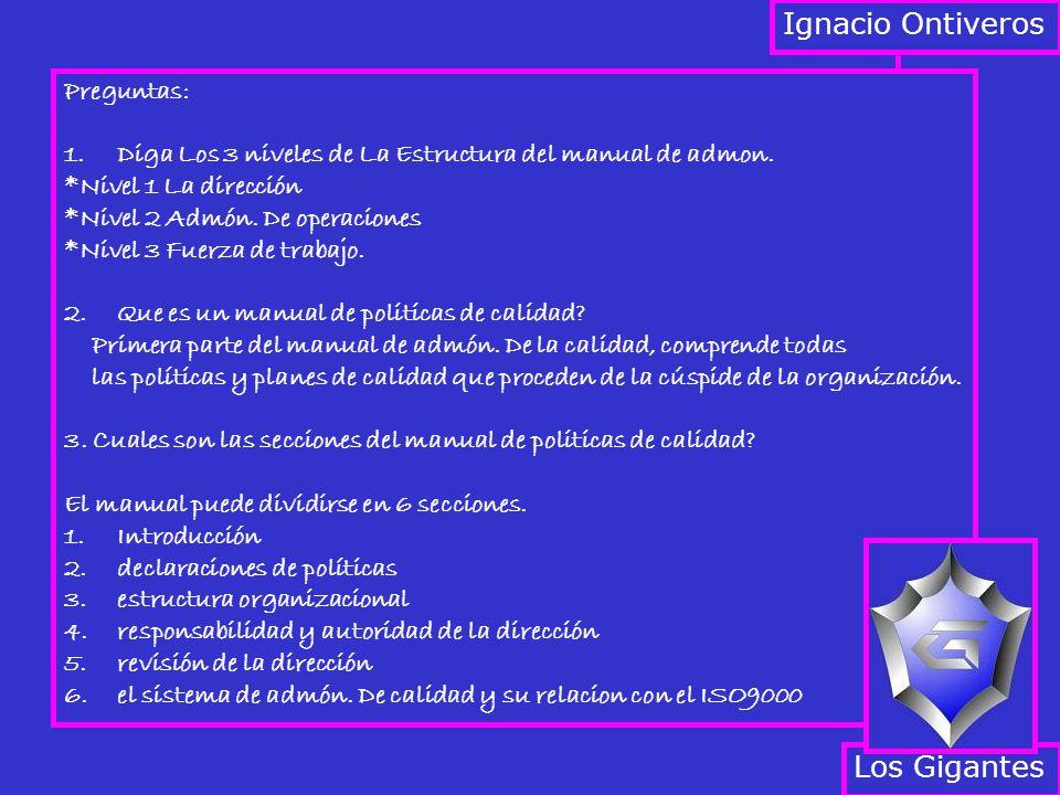 Ignacio Ontiveros Preguntas: 1.Diga Los 3 niveles de La Estructura del manual de admon. *Nivel 1 La dirección *Nivel 2 Admón. De operaciones *Nivel 3