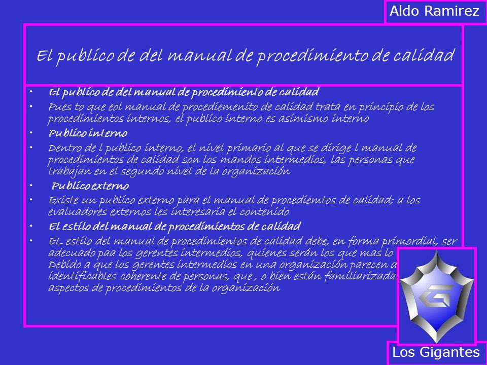 El publico de del manual de procedimiento de calidad Pues to que eol manual de procediemenito de calidad trata en principio de los procedimientos internos, el publico interno es asimismo interno Publico interno Dentro de l publico interno, el nivel primario al que se dirige l manual de procedimientos de calidad son los mandos intermedios, las personas que trabajan en el segundo nivel de la organización Publico externo Existe un publico externo para el manual de procediemtos de calidad; a los evaluadores externos les interesaria el contenido El estilo del manual de procedimientos de calidad EL estilo del manual de procedimientos de calidad debe, en forma primordial, ser adecuado paa los gerentes intermedios, quienes serán los que mas lo usaran.