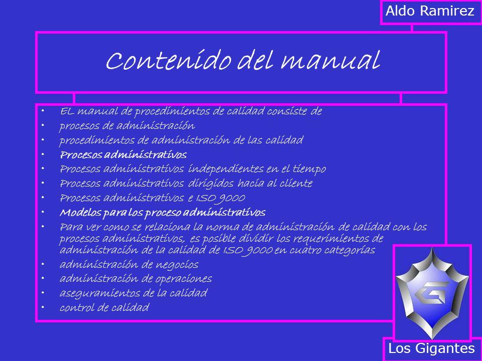 Contenido del manual EL manual de procedimientos de calidad consiste de procesos de administración procedimientos de administración de las calidad Pro