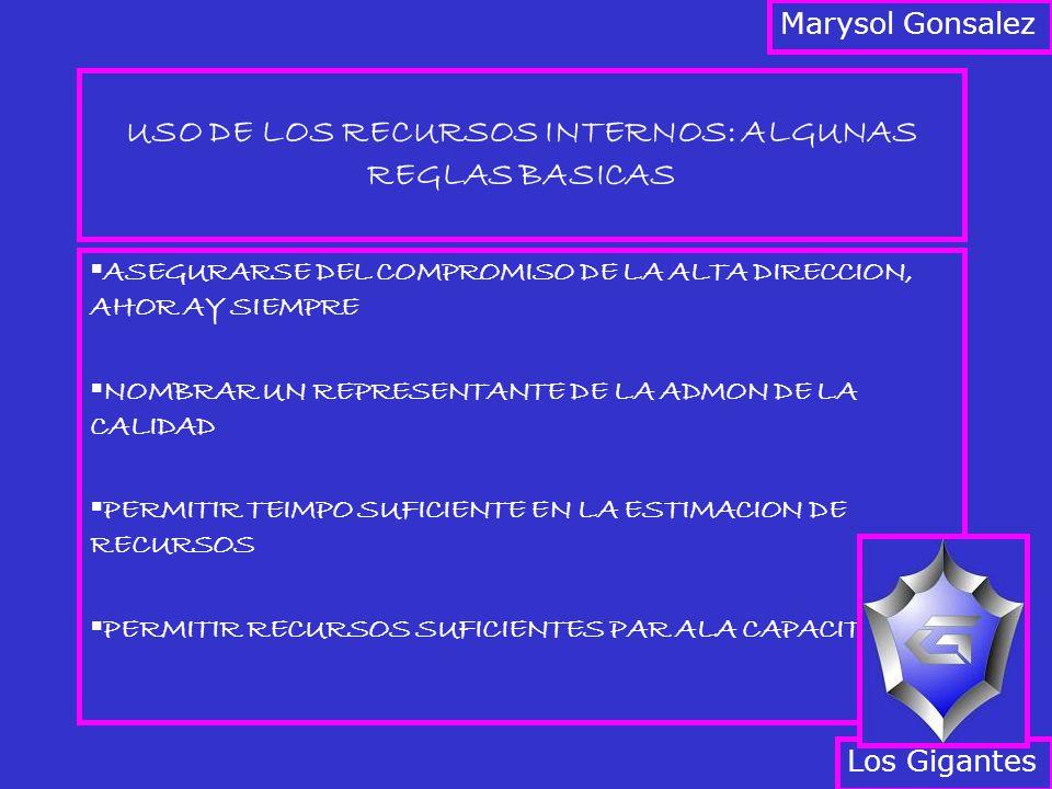 USO DE LOS RECURSOS INTERNOS: ALGUNAS REGLAS BASICAS ASEGURARSE DEL COMPROMISO DE LA ALTA DIRECCION, AHOR AY SIEMPRE NOMBRAR UN REPRESENTANTE DE LA ADMON DE LA CALIDAD PERMITIR TEIMPO SUFICIENTE EN LA ESTIMACION DE RECURSOS PERMITIR RECURSOS SUFICIENTES PAR ALA CAPACITACION Los Gigantes Marysol Gonsalez
