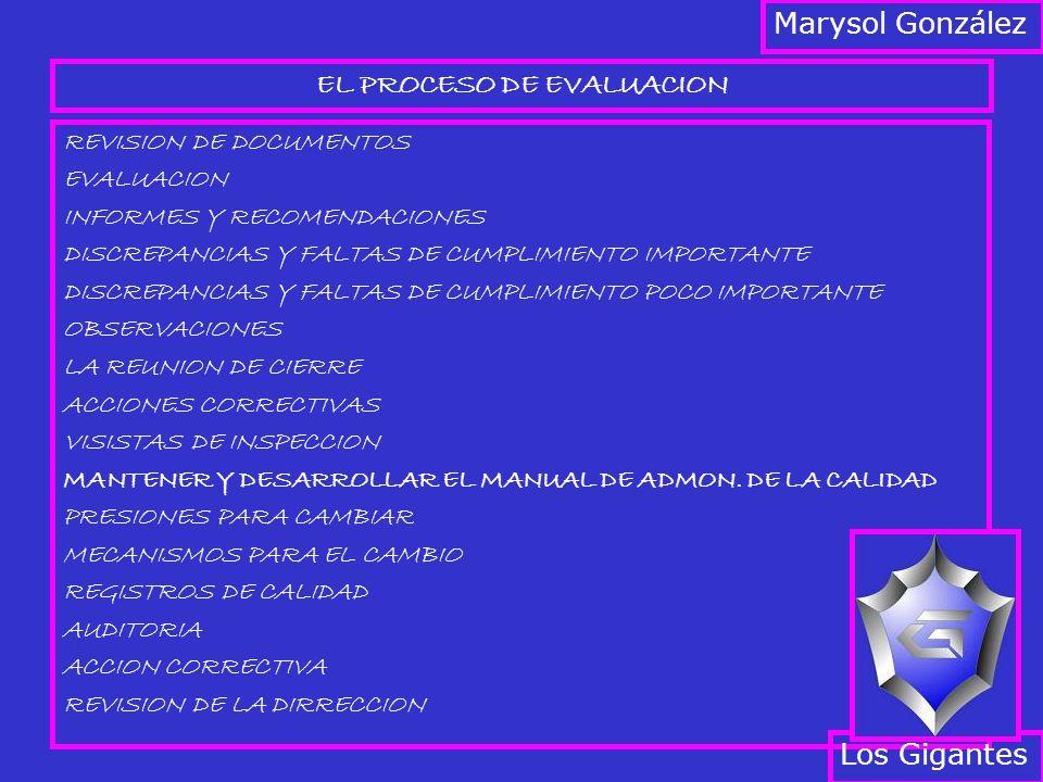 EL PROCESO DE EVALUACION REVISION DE DOCUMENTOS EVALUACION INFORMES Y RECOMENDACIONES DISCREPANCIAS Y FALTAS DE CUMPLIMIENTO IMPORTANTE DISCREPANCIAS Y FALTAS DE CUMPLIMIENTO POCO IMPORTANTE OBSERVACIONES LA REUNION DE CIERRE ACCIONES CORRECTIVAS VISISTAS DE INSPECCION MANTENER Y DESARROLLAR EL MANUAL DE ADMON.