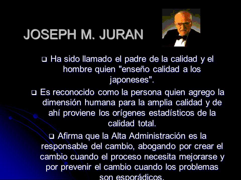 JOSEPH M. JURAN Ha sido llamado el padre de la calidad y el hombre quien