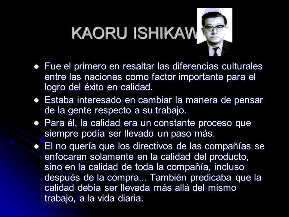 KAORU ISHIKAWA Fue el primero en resaltar las diferencias culturales entre las naciones como factor importante para el logro del éxito en calidad. Fue