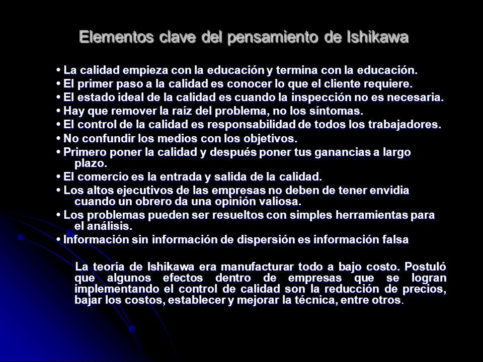 Elementos clave del pensamiento de Ishikawa La calidad empieza con la educación y termina con la educación. La calidad empieza con la educación y term