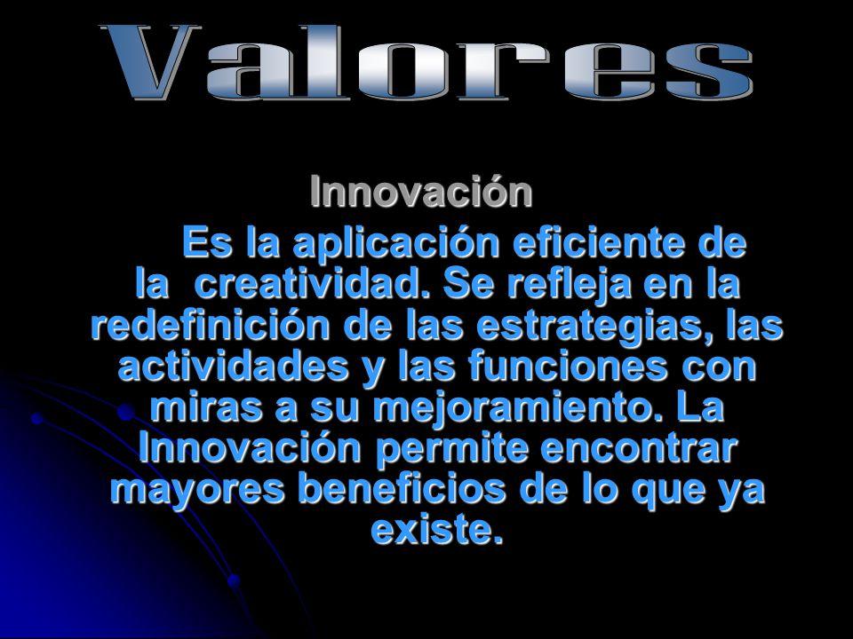 Innovación Es la aplicación eficiente de la creatividad. Se refleja en la redefinición de las estrategias, las actividades y las funciones con miras a