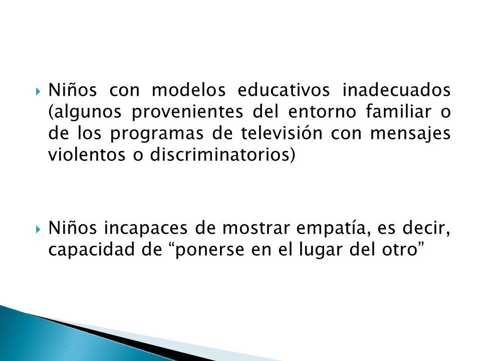 Niños con modelos educativos inadecuados (algunos provenientes del entorno familiar o de los programas de televisión con mensajes violentos o discrimi