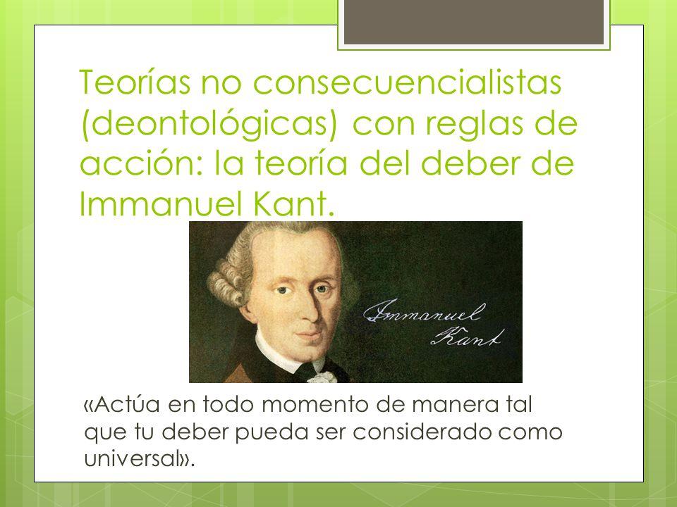 Teoría No-consecuencialista con reglas de acción Esta teoría propone que hay «reglas» que son la única base para la moralidad y que las consecuencias no importan.