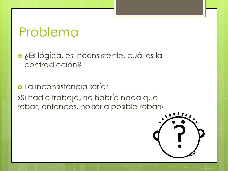 Problema ¿Es lógica, es inconsistente, cuál es la contradicción.