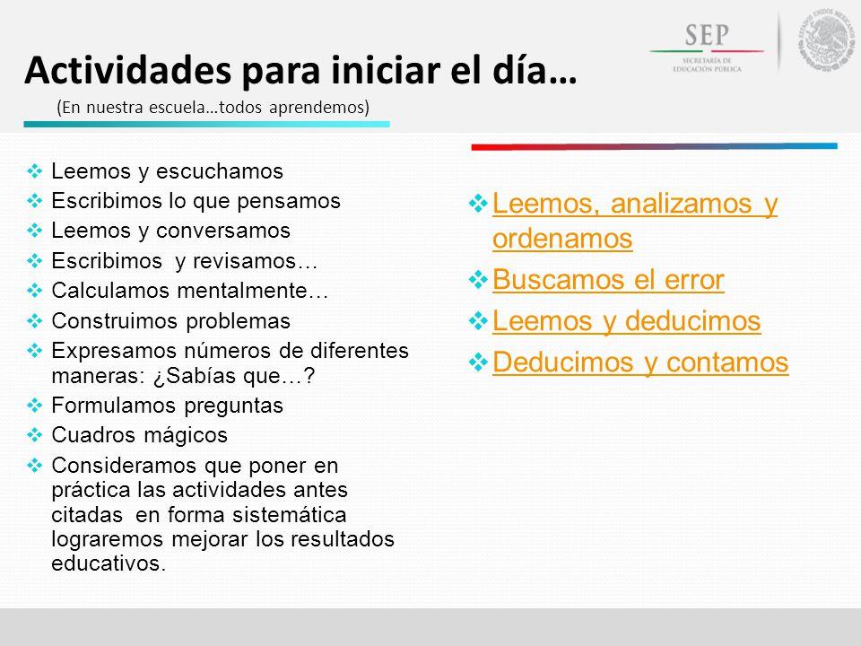 Actividades para iniciar el día… (En nuestra escuela…todos aprendemos) Leemos, analizamos y ordenamos Leemos, analizamos y ordenamos Buscamos el error