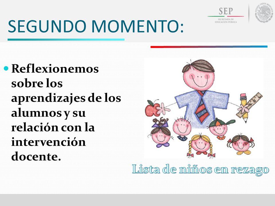 SEGUNDO MOMENTO: Reflexionemos sobre los aprendizajes de los alumnos y su relación con la intervención docente.