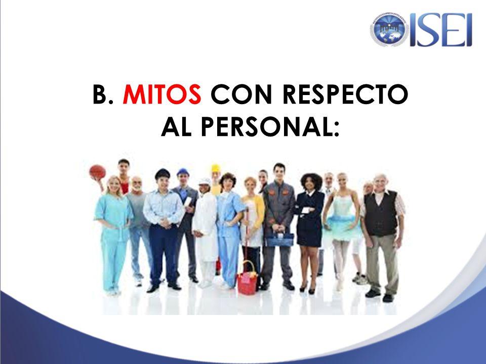 A. LOS MITOS CON RESPECTO AL CLIENTE 1. Trabajamos para el cliente SCH 2. El cliente siempre tiene la razón SCH 3. El cliente es lo más importante SCH