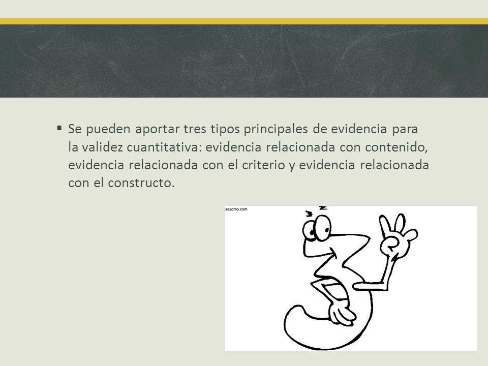 Se pueden aportar tres tipos principales de evidencia para la validez cuantitativa: evidencia relacionada con contenido, evidencia relacionada con el