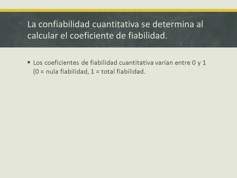 La confiabilidad cuantitativa se determina al calcular el coeficiente de fiabilidad. Los coeficientes de fiabilidad cuantitativa varían entre 0 y 1 (0