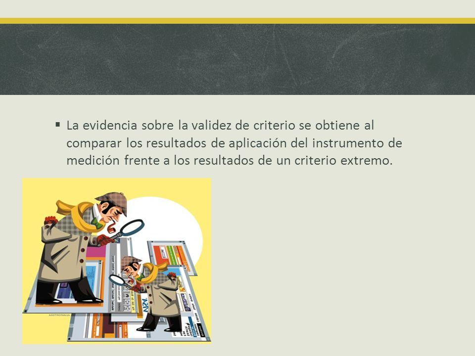 La evidencia sobre la validez de criterio se obtiene al comparar los resultados de aplicación del instrumento de medición frente a los resultados de u