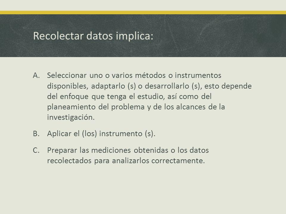 Recolectar datos implica: A.Seleccionar uno o varios métodos o instrumentos disponibles, adaptarlo (s) o desarrollarlo (s), esto depende del enfoque q