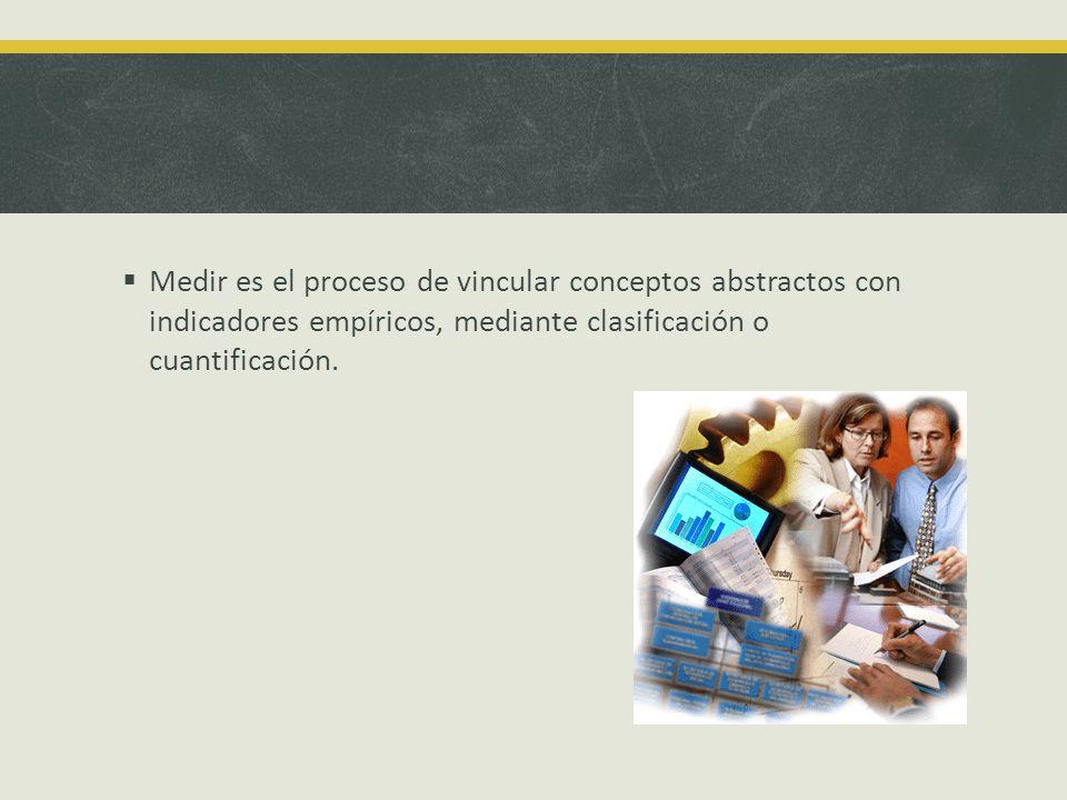 Medir es el proceso de vincular conceptos abstractos con indicadores empíricos, mediante clasificación o cuantificación.
