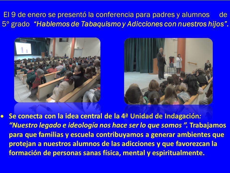 El 9 de enero se presentó la conferencia para padres y alumnos de 5º grado Hablemos de Tabaquismo y Adicciones con nuestros hijos. Se conecta con la i