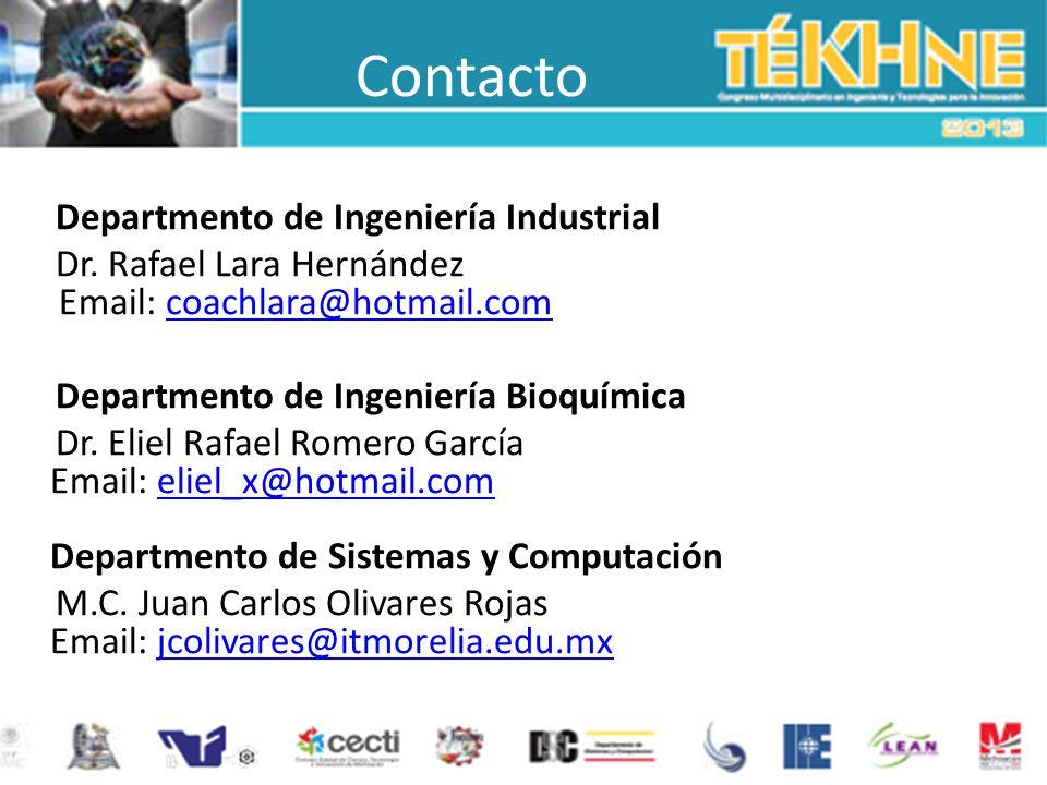 Contacto Departmento de Ingeniería Industrial Dr. Rafael Lara Hernández Email: coachlara@hotmail.comcoachlara@hotmail.com Departmento de Ingeniería Bi