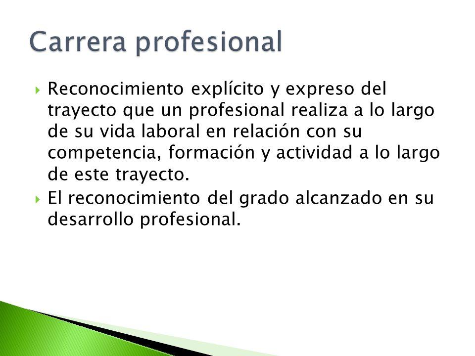 Reconocimiento explícito y expreso del trayecto que un profesional realiza a lo largo de su vida laboral en relación con su competencia, formación y a