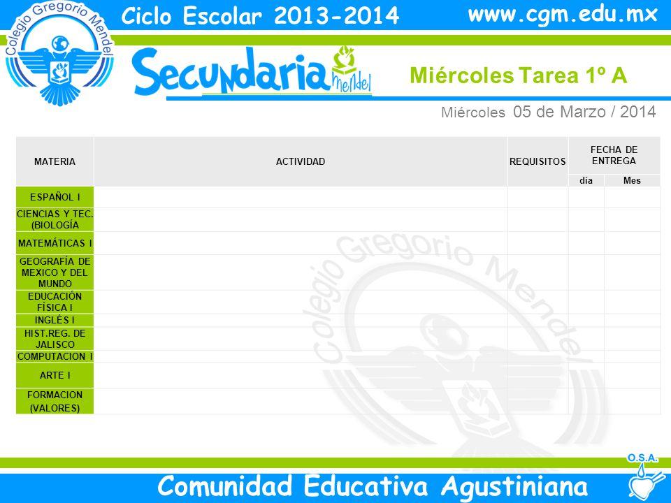 Jueves Tarea 2º A Ciclo Escolar 2013-2014 Comunidad Educativa Agustiniana www.cgm.edu.mx MATERIAACTIVIDADREQUISITOS FECHA DE ENTREGA díaMes ESPAÑOL IITraer Libro para taller de lectura Vie 07 Marzo CIENCIAS Y TECNOLOGIA II ( FISICA) Termino de cartel sobre el modelo atomista Vie 07 Marzo MATEMATICAS II HISTORIA UNIVERSAL EDUCACIÓN FÍSICA II FORCE I INGLÉS II COMPUTACION II FORMACION (VALORES) ARTE (MUSICA) Jueves 06 de Marzo / 2014
