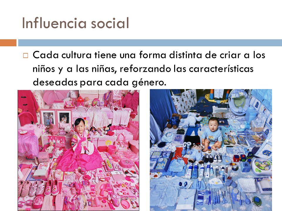 Influencia social Cada cultura tiene una forma distinta de criar a los niños y a las niñas, reforzando las características deseadas para cada género.