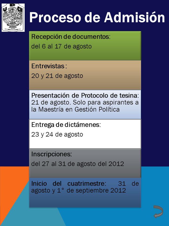 Proceso de Admisión Recepción de documentos: del 6 al 17 de agosto Entrevistas : 20 y 21 de agosto Presentación de Protocolo de tesina: 21 de agosto.