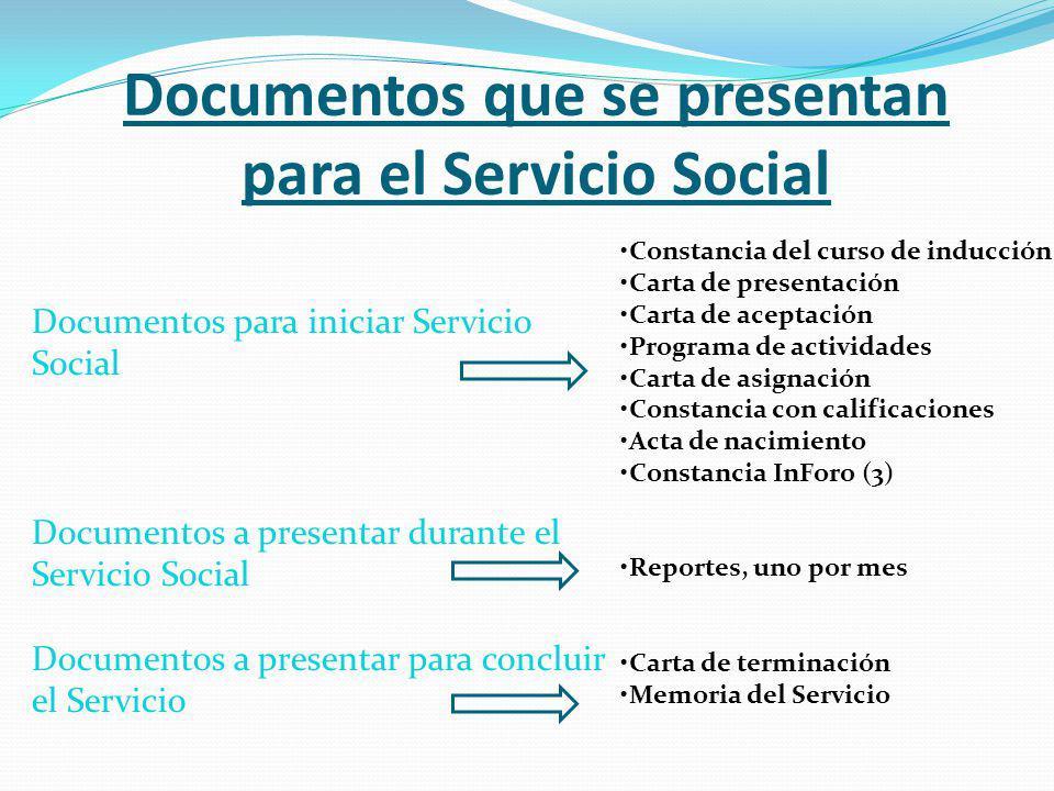 Documentos que se presentan para dar por iniciado su servicio Constancia del curso de inducción.
