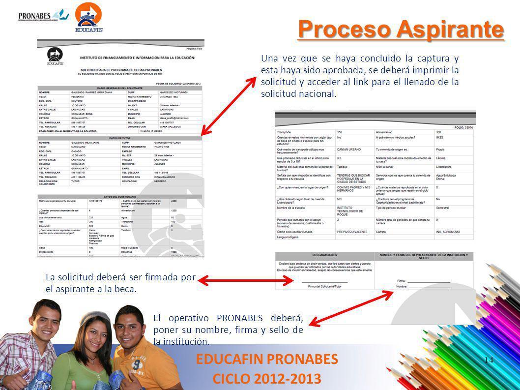 Proceso Aspirante Una vez que se haya concluido la captura y esta haya sido aprobada, se deberá imprimir la solicitud y acceder al link para el llenad