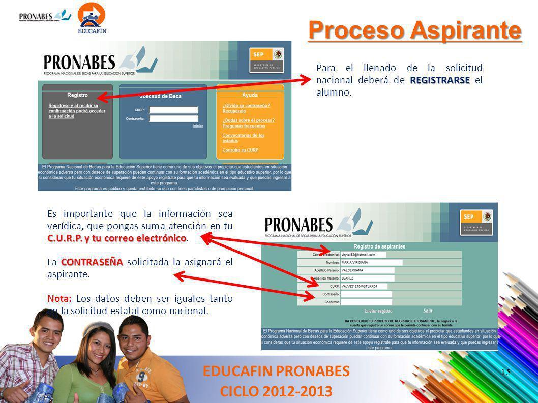 Proceso Aspirante REGISTRARSE Para el llenado de la solicitud nacional deberá de REGISTRARSE el alumno. C.U.R.P. y tu correo electrónico Es importante