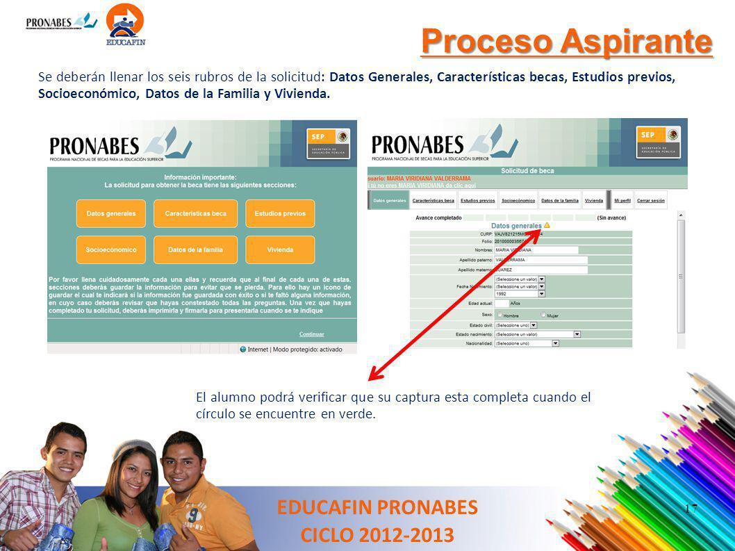 Proceso Aspirante Se deberán llenar los seis rubros de la solicitud: Datos Generales, Características becas, Estudios previos, Socioeconómico, Datos d