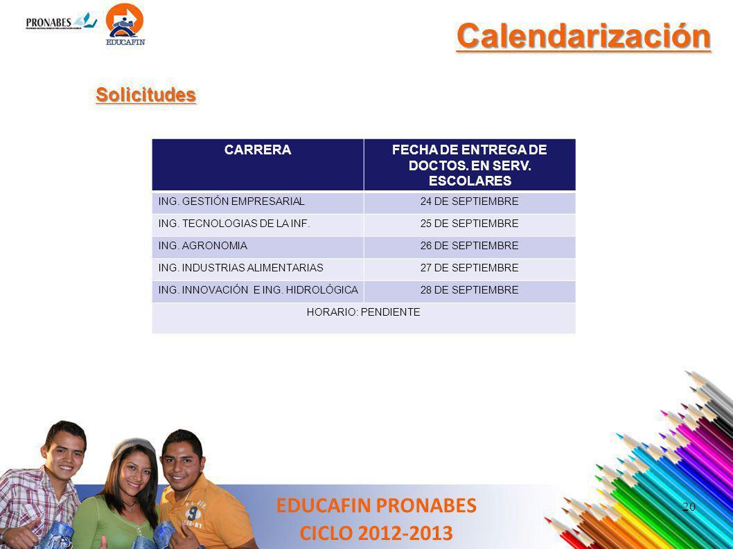 20 Calendarización Solicitudes EDUCAFIN PRONABES CICLO 2012-2013 CARRERAFECHA DE ENTREGA DE DOCTOS. EN SERV. ESCOLARES ING. GESTIÓN EMPRESARIAL24 DE S