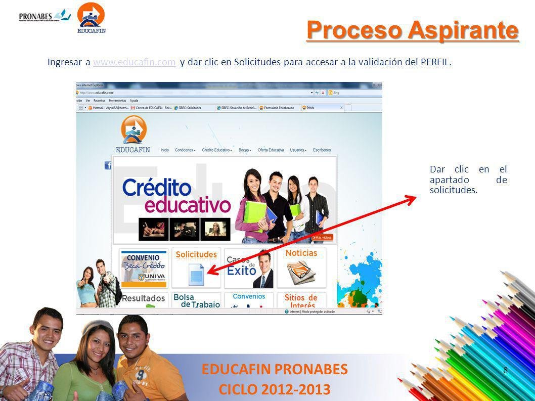 Proceso Aspirante EDUCAFIN PRONABES CICLO 2012-2013 Ingresar a www.educafin.com y dar clic en Solicitudes para accesar a la validación del PERFIL.www.