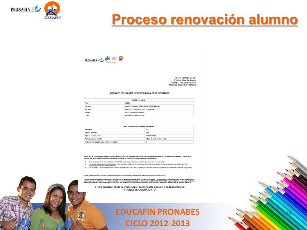 10 Proceso renovación alumno EDUCAFIN PRONABES CICLO 2012-2013