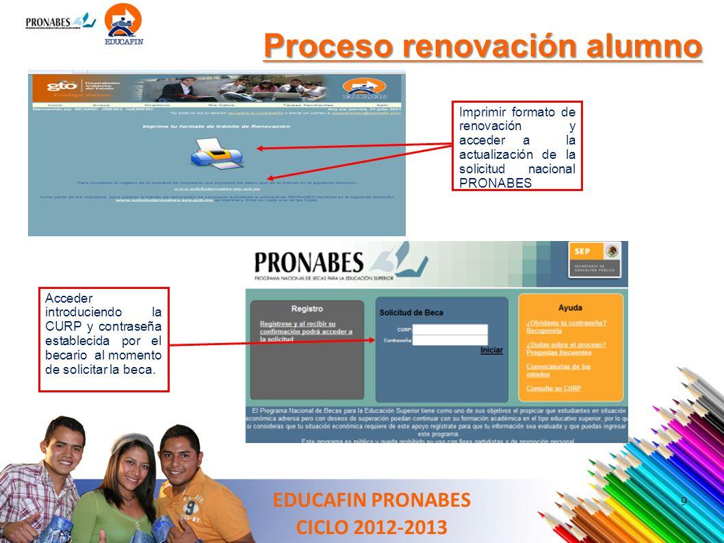 9 Proceso renovación alumno Imprimir formato de renovación y acceder a la actualización de la solicitud nacional PRONABES Acceder introduciendo la CUR