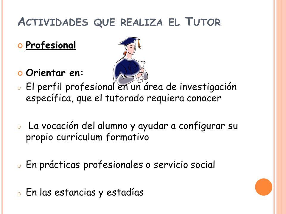 A CTIVIDADES QUE REALIZA EL T UTOR Profesional Orientar en: o El perfil profesional en un área de investigación específica, que el tutorado requiera c