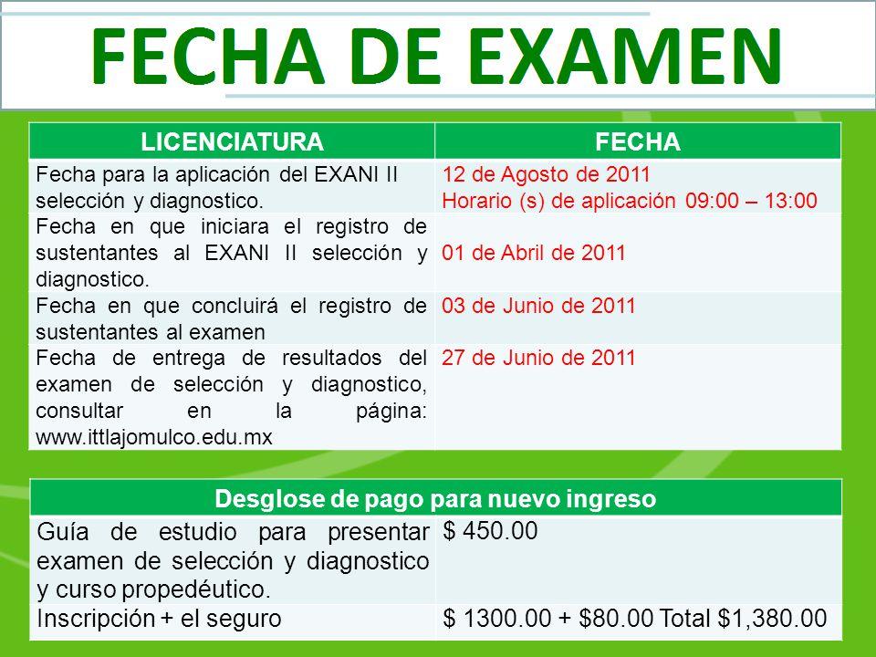 LICENCIATURAFECHA Fecha para la aplicación del EXANI II selección y diagnostico. 12 de Agosto de 2011 Horario (s) de aplicación 09:00 – 13:00 Fecha en