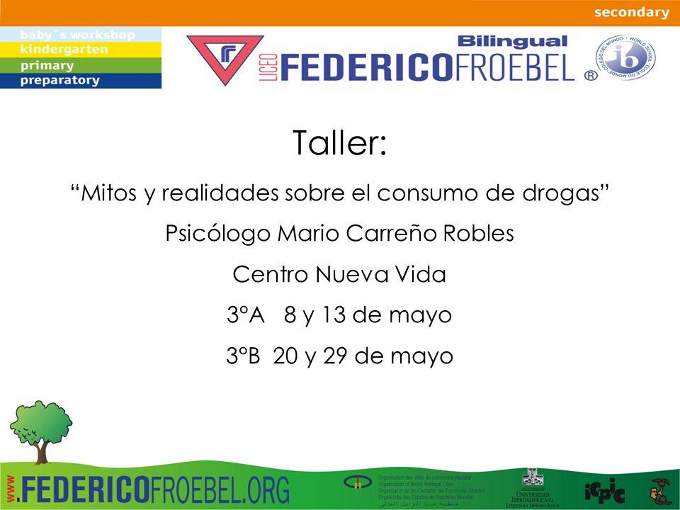 Taller: Mitos y realidades sobre el consumo de drogas Psicólogo Mario Carreño Robles Centro Nueva Vida 3°A 8 y 13 de mayo 3°B 20 y 29 de mayo