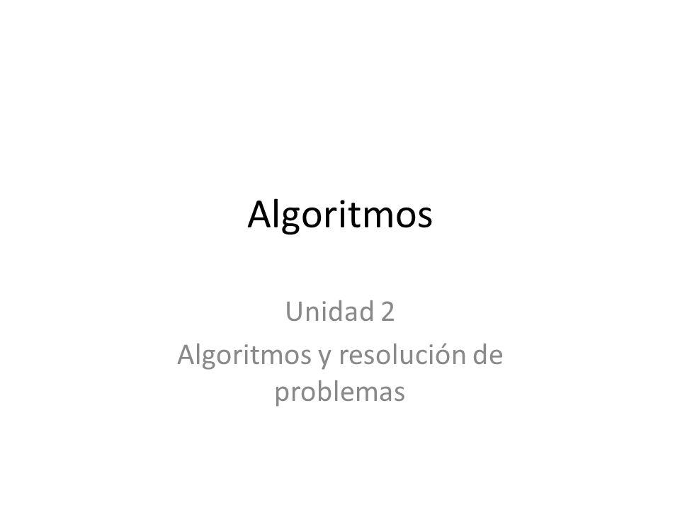 Algoritmos Unidad 2 Algoritmos y resolución de problemas