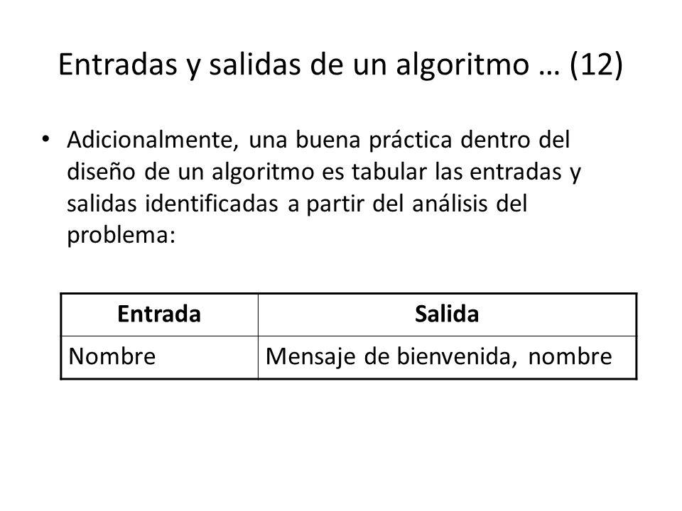 Entradas y salidas de un algoritmo … (12) Adicionalmente, una buena práctica dentro del diseño de un algoritmo es tabular las entradas y salidas ident