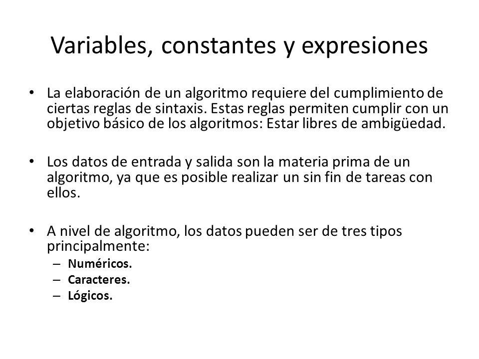 Variables, constantes y expresiones La elaboración de un algoritmo requiere del cumplimiento de ciertas reglas de sintaxis. Estas reglas permiten cump