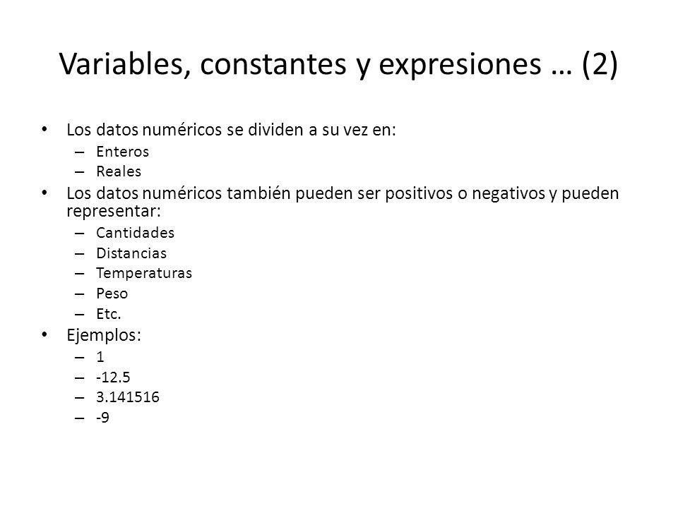 Variables, constantes y expresiones … (2) Los datos numéricos se dividen a su vez en: – Enteros – Reales Los datos numéricos también pueden ser positi