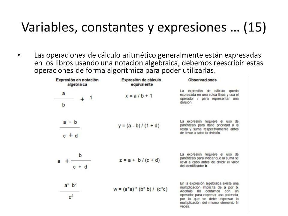 Variables, constantes y expresiones … (15) Las operaciones de cálculo aritmético generalmente están expresadas en los libros usando una notación algeb