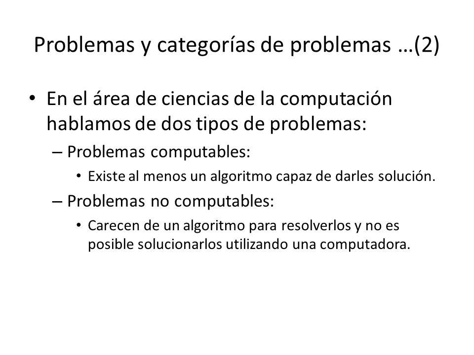 Problemas y categorías de problemas …(2) En el área de ciencias de la computación hablamos de dos tipos de problemas: – Problemas computables: Existe